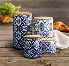Jay Imports Pirouette Blue Canister, Set of 4
