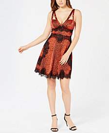 GUESS Nadine Embellished Lace-Trim Dress