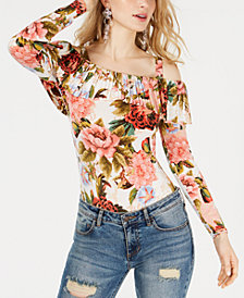 GUESS Amy Printed Off-The-Shoulder Bodysuit
