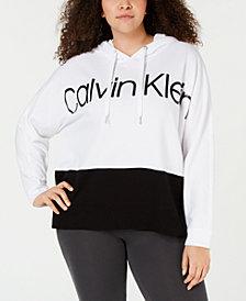 Calvin Klein Performance Plus Size Colorblocked Metallic-Logo Dolman-Sleeve Hoodie