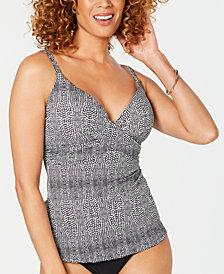 Island Escape Reeve Printed Gemini Underwire D-Cup Tankini Top, Created For Macy's