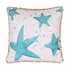 "Samaria Starfish Splatter Printed Faux Linen Pillow, 20"" x 20"""