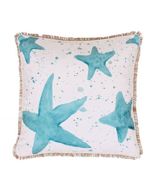 "THRO Samaria Starfish Splatter Printed Faux Linen Pillow, 20"" x 20"""