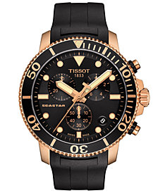 Tissot Men's Swiss Chronograph Seastar 1000 Black Rubber Strap Diver Watch 45.5mm