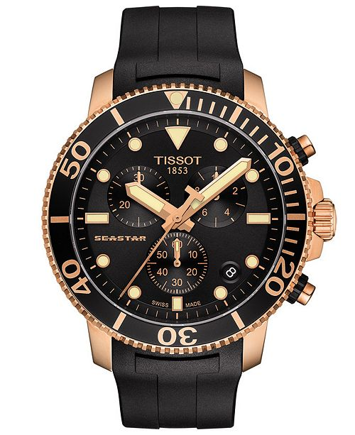 Tissot Men's Swiss Chronograph Seastar 1000 Black Rubber Strap Watch 45.5mm