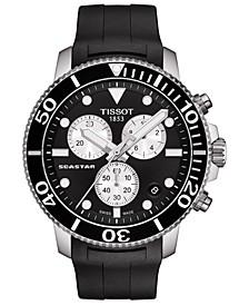 Men's Swiss Chronograph Seastar 1000 Black Rubber Strap Diver Watch 45.5mm
