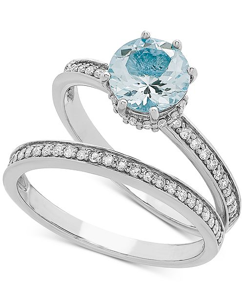 Macy's Love Rocks Bridal Aquamarine (1-1/5 ct. t.w) & Diamond (1/5 ct. t.w) Bridal Set in 14k White gold