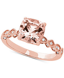 Love Rocks Bridal Morganite (2 ct. t.w) & Diamond (1/3 ct. t.w.) Ring in 14k Rose Gold