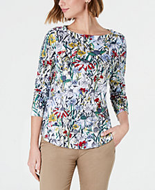 Charter Club Cotton Floral-Print Boat-Neck Top, Created for Macy's