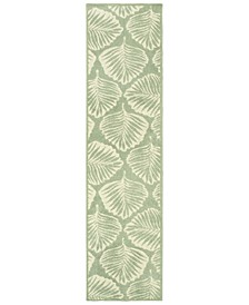 "Barbados 8027Z Green/Ivory 1'10"" x 7'6"" Indoor/Outdoor Runner Area Rug"