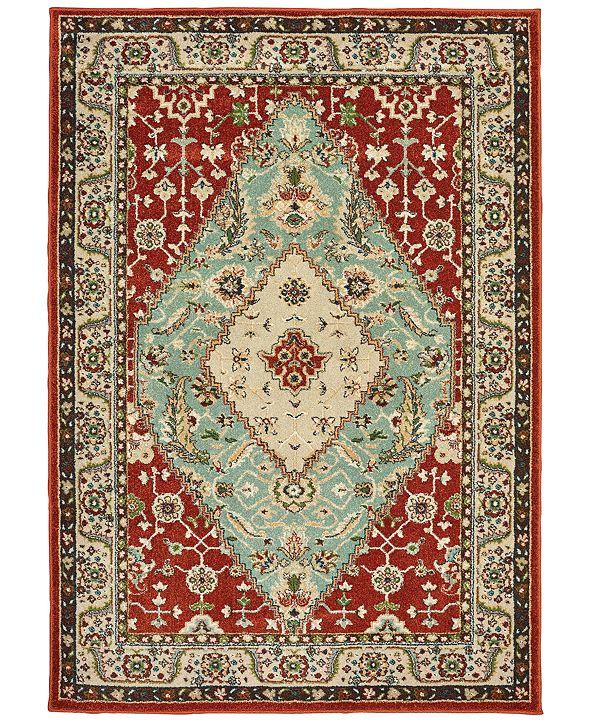 """Oriental Weavers Dawson 8315A Rust/Blue 6'7"""" x 9'6"""" Area Rug"""