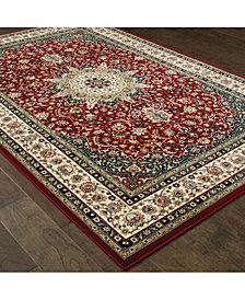 """Oriental Weavers Kashan 119N Red/Ivory 2'3"""" x 7'6"""" Runner Area Rug"""