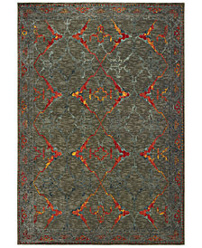 "Oriental Weavers Mantra 5502D Gray/Red 2'3"" x 7'6"" Runner Area Rug"