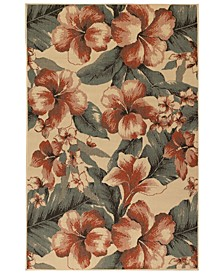 "Riviera 7649 Tropical Flower 7'10"" Indoor/Outdoor Round Area Rug"