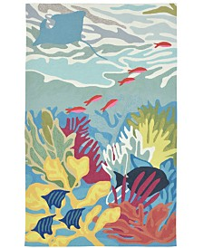 Liora Manne' Ravella 2275 Ocean View Blue 5' Indoor/Outdoor Round Area Rug