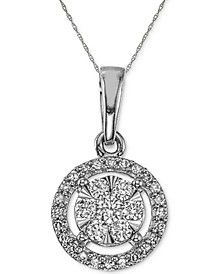 """Diamond Halo Pendant Necklace (1/4 ct. t.w.) in 10k White Gold, 16"""" + 2"""" extender"""