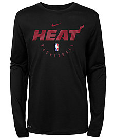 Nike Miami Heat Long Sleeve Practice T-Shirt, Big Boys (8-20)