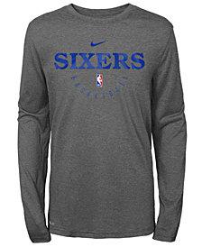 Nike Philadelphia 76ers Long Sleeve Practice T-Shirt, Big Boys (8-20)