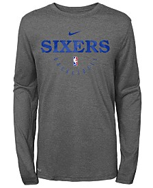 Nike Philadelphia 76ers Long Sleeve Practice T-Shirt, Big Boys (8-20)
