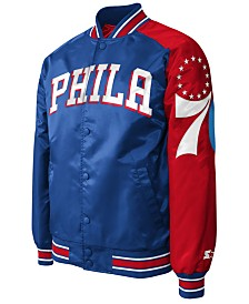 G-III Sports Men's Philadelphia 76ers Starter Dugout Playoffs Satin Jacket