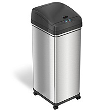 iTouchless 13 Gal Glide Sensor Trash Can with Wheels and Deodorizer