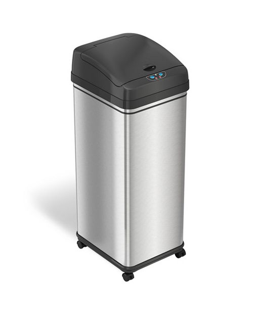 13 Gal Glide Sensor Trash Can with Wheels and Deodorizer