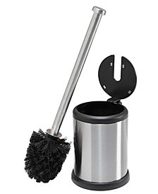 Self Closing Lid Toilet Brush and Holder in Stainless Steel