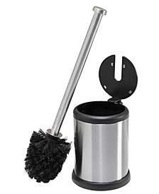Bath Bliss Self Closing Lid Toilet Brush and Holder in Stainless Steel