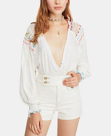 Free People Embroidered Crochet-Detailed Top