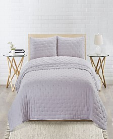 Sleeping Partners Embroidered Dot Microfiber Soft Wash 3 Piece Quilt Set