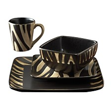 Jay Imports Safari Zebra 16 PC Dinnerware Set