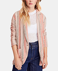 Free People Striped One-Button Blazer