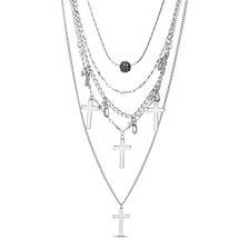 Steve Madden Fireball Beaded and Cross Layered Necklace