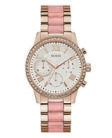 GUESS Women's Rose Gold Pink PINK Faux Ceramic Watch 40MM, Created for Macy's