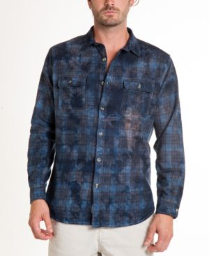 ORIGINAL PAPERBACKS Montana Crystal Wash Tie Dye Flannel Shirt in Navy
