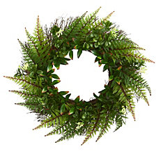 "Nearly Natural 23"" Assorted Fern Wreath"