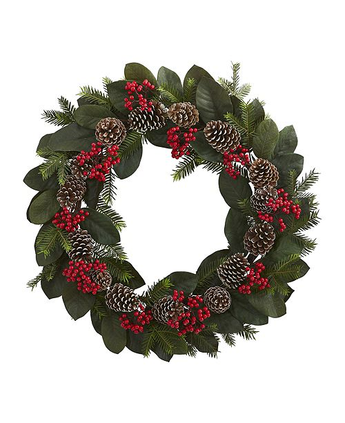 "Nearly Natural 30"" Magnolia Leaf, Berry, Pine & Pine Cone Artificial Wreath"
