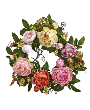 """Nearly Natural 20"""" Mixed Peony and Berry Wreath"""
