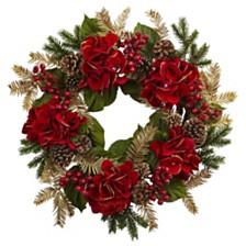 "Nearly Natural 24"" Hydrangea Pine Wreath"