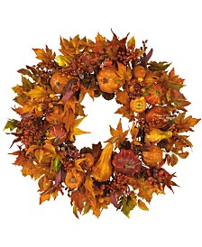 """Nearly Natural 28"""" Harvest Wreath"""