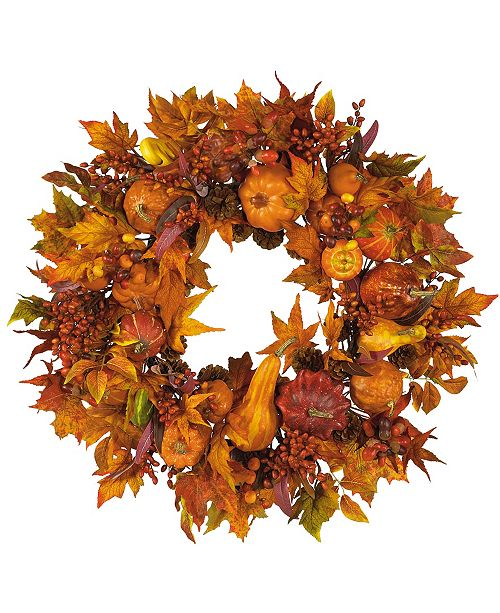 "Nearly Natural 28"" Harvest Wreath"
