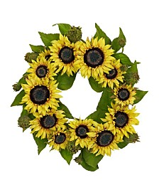 "Nearly Natural 22"" Sunflower Wreath"