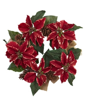 """Nearly Natural 22"""" Poinsettia, Pine Cone and Burlap Wreath"""