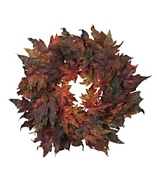 """Nearly Natural 30"""" Maple Leaf Wreath"""