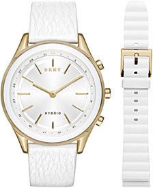 DKNY Women's Minute Woodhaven White Leather Strap Hybrid Smart Watch 38mm Gift Set, Created for Macy's