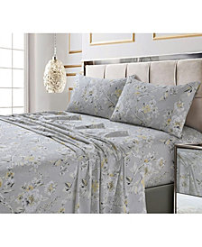 Colmar Printed 300 Thread Count Cotton Sateen Extra Deep Pocket Sheet Set Cal King Sheet Set