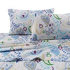 Tribeca Living Paisley Garden 170-GSM Flannel Printed Extra Deep Pocket Full Flannel Set