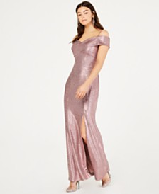 Nightway Cold-Shoulder Foil Gown