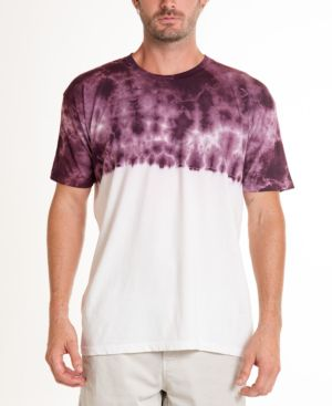 ORIGINAL PAPERBACKS South Sea Crystal Wash Dip Tie Dye Crewneck Tee in Burgundy