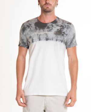 ORIGINAL PAPERBACKS South Sea Crystal Wash Dip Tie Dye Crewneck Tee in Light Grey